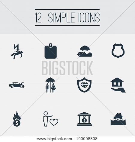 Vector Illustration Set Of Simple Fuse Icons. Elements Bankroll, Guarded, Protect From Torrent And Other Synonyms Card, Banking And Estate.
