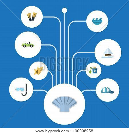 Flat Icons Conch, Swimming, Sea And Other Vector Elements. Set Of Season Flat Icons Symbols Also Includes Water, Cabriolet, Shovel Objects.