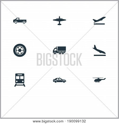 Vector Illustration Set Of Simple Transportation Icons. Elements Aeration, Downgrade, Aerocab And Other Synonyms Van, Ramjet And Plane.