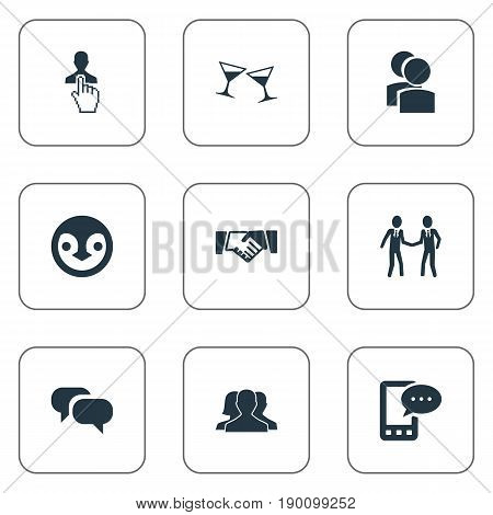 Vector Illustration Set Of Simple Buddies Icons. Elements Beverage, Ensemble, Friendship And Other Synonyms Glasses, Community And Message.