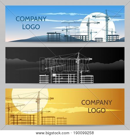 Horizontal banners with constructions and building area. Vector Industrial design elements set.