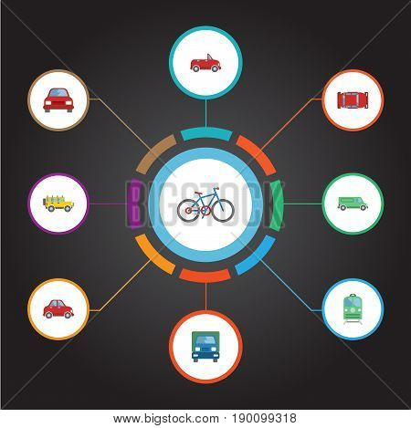 Flat Icons Carriage, Truck, Bicycle And Other Vector Elements. Set Of Transport Flat Icons Symbols Also Includes Bicycle, Jeep, Carriage Objects.