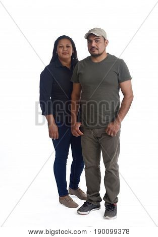 a portrait of a latinamerica couple on white background