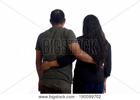 latinamerican couple in love on white background