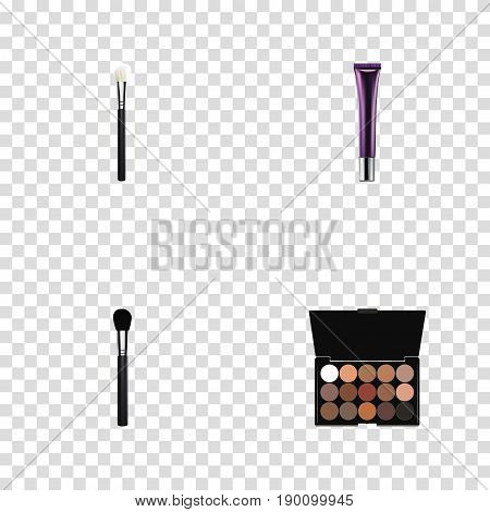 Realistic Multicolored Palette, Day Creme, Powder Blush And Other Vector Elements. Set Of Greasepaint Realistic Symbols Also Includes Creme, Collagen, Brush Objects.