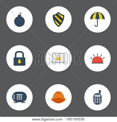 Flat Icons Explosive, Safe, Walkie-Talkie And Other Vector Elements. Set Of Security Flat Icons Symbols Also Includes Safe, Vault, Phone Objects.