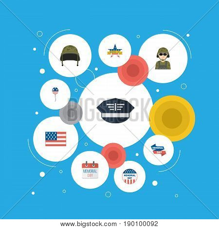 Flat Icons Soldier Helmet, Memorial Day, Ribbon And Other Vector Elements. Set Of Memorial Flat Icons Symbols Also Includes Banner, Usa, Helmet Objects.