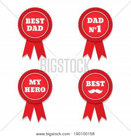 Happy Fathers Day. Vector red label with ribbons. Reward for a best father. Vector illustration