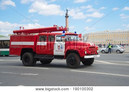 SAINT PETERSBURG, RUSSIA - MAY 21, 2017: Fire car on the basis of ZIL-130 in motion. The third annual parade of retro transport in Saint-Petersburg