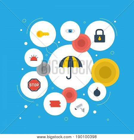 Flat Icons Explosive, Clue, Key And Other Vector Elements. Set Of Security Flat Icons Symbols Also Includes Lock, Key, Explosive Objects.