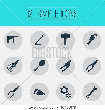 Vector Illustration Set Of Simple Construction Icons. Elements Electric Screwdriver, Wrench, Clamping Instrument And Other Synonyms Jimmy, Clippers And Spade.