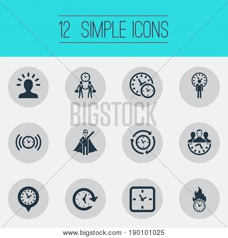 Vector Illustration Set Of Simple Time Icons. Elements Alarm, Limits, Administrator And Other Synonyms Meeting, Handshake And Businessman.