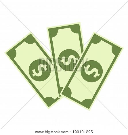 Cash Icon in flat style. Dollar banknote green. Vector stock.