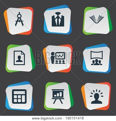 Vector Illustration Set Of Simple Training Icons. Elements Architect Drafting, Elegant Style, Demonstration And Other Synonyms Book, Businessman And Geometry.