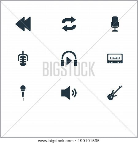 Vector Illustration Set Of Simple Music Icons. Elements Backwards, Record, Mix And Other Synonyms Cassette, Tunes And Megaphone.