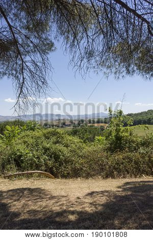VAL D'ORCIA, ITALY - JUNE 3 2017: Tuscan hills landscape in the region named Val D'Orcia