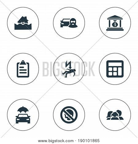 Vector Illustration Set Of Simple Guarantee Icons. Elements Accounting, Danger, Electric Shock  Jeopardy And Other Synonyms Health, Money And Economy.