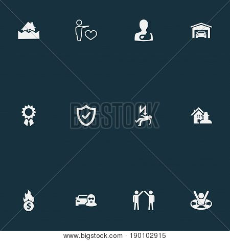 Vector Illustration Set Of Simple Warrant Icons. Elements Bankroll, Car Thief, Safeguard And Other Synonyms Virus, Money And Garage.