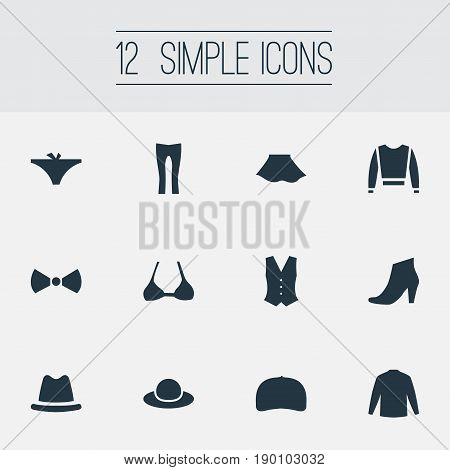 Vector Illustration Set Of Simple Wardrobe Icons. Elements Footwear, Pants, Female Cloth And Other Synonyms Skirt, Long And Cap.