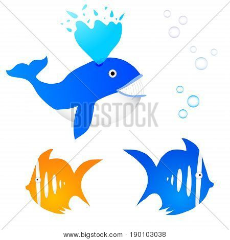 Collection of three fishes with bubbles. Whale and exotic fish.