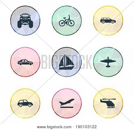 Vector Illustration Set Of Simple Transportation Icons. Elements Bike, Small Automobile, Aeration And Other Synonyms Chopper, Whirlybird And Aircraft.