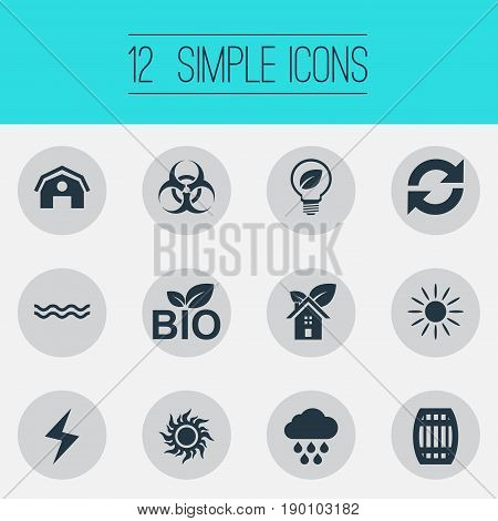 Vector Illustration Set Of Simple Energy Icons. Elements Biology Peril, Cloudburst, Barn And Other Synonyms Lightning, Bio And Food.