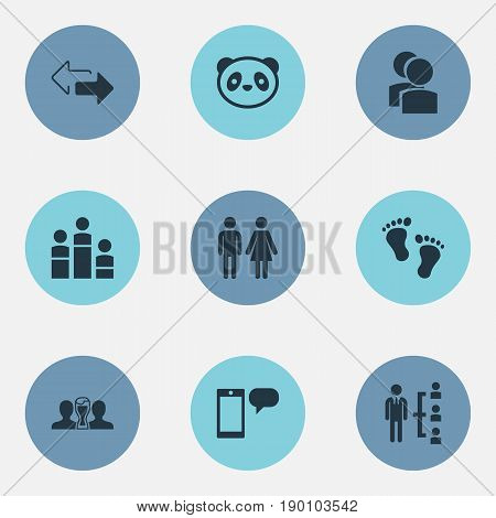 Vector Illustration Set Of Simple Mates Icons. Elements Barefoot, Beer, Arrows And Other Synonyms Footprints, Spouses And Arrows.