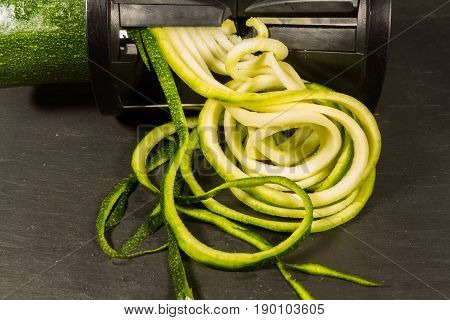 Courgette Zucchini Being Spiralised
