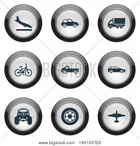 Vector Illustration Set Of Simple Transportation Icons. Elements Aero, Motor Lorry, Tire And Other Synonyms Velocipede, Mini And Landing.
