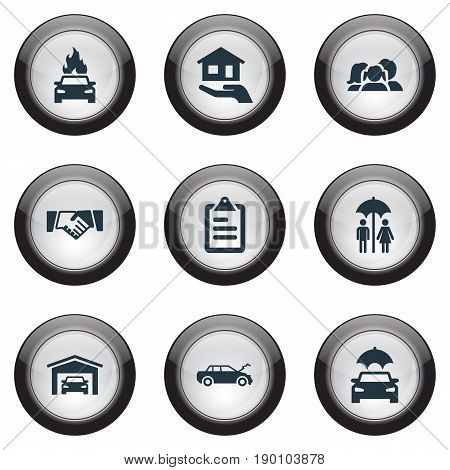 Vector Illustration Set Of Simple Fuse Icons. Elements Automobile Explosion, Estate, Vehicle Assurance And Other Synonyms Handshake, Health And Friendship.