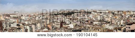 180 degree panorama of overpopulation in Istanbul