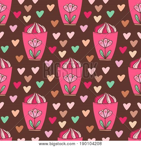 Seamless pattern with ice creams. Bright wrapping paper.