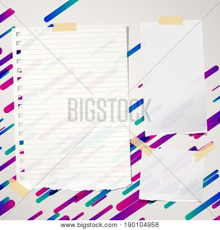 Pieces of ripped ruled and blank note, notebook, copybook paper sheets stuck on lined colorful background