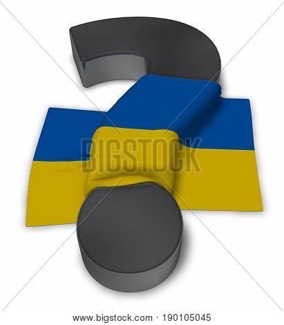 question mark and flag of ukraine - 3d illustration