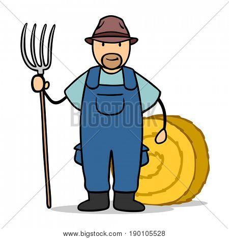 Cartoon man as organic farmer with pitchfork and bale
