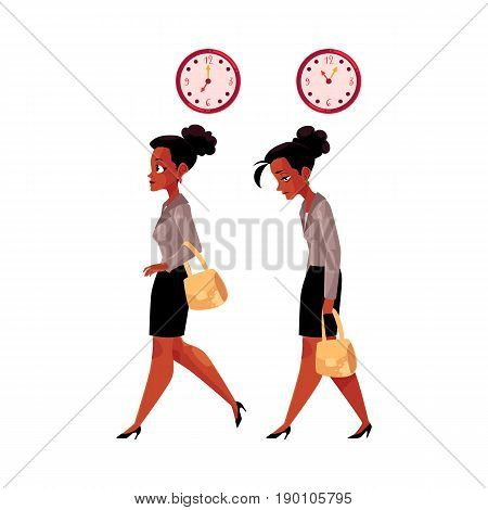 Young black, African American businesswoman going to work and back home tired, exhausted, cartoon vector illustration isolated on white background. Black businesswoman in the morning and evening time