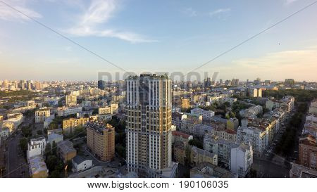 Summer morning in Kiev, aerial view