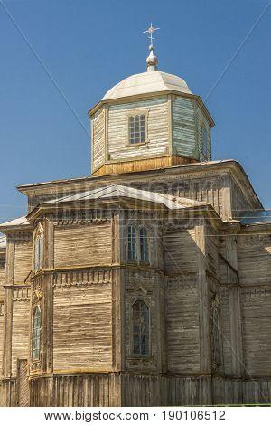 Old wooden orthodoxy church in Pobirka village near Uman - Ukraine Europe.