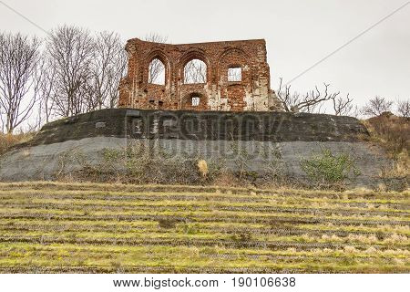 Ruins of gothic church from 14/15th century located in Trzesacz (Poland Europe) near the Baltic Sea. Currently remained only fragment of southern wall.