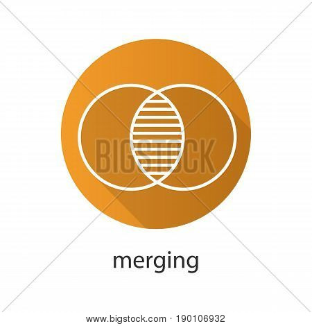 Merging flat linear long shadow icon. Cell absorption. Integration abstract metaphor. Vector line symbol
