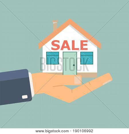 Agent's hand hold a house. Buying a house. Real estate and home for sale concept. Vector illustration.