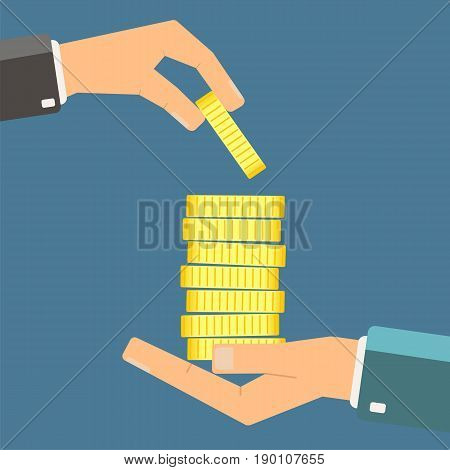 Hand giving gold coin to another hand. Need for money concept. Vector illustration.