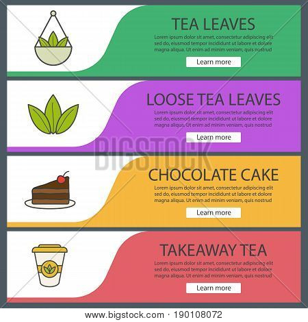 Tea banner templates set. Loose tea leaves in bulk, chocolate cake, takeaway paper cup. Website menu items. Color web banner. Vector headers design concepts