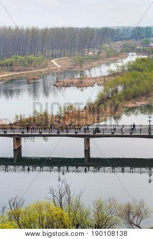 View Of Manshui Bridge In Valley Of Yi River