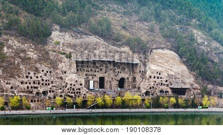 Many Caves On West Hill In Longmen Grottoes