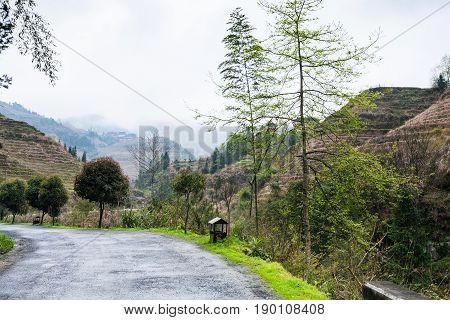 Road In Area Of Longsheng Rice Terraces