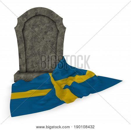 gravestone and flag of sweden - 3d rendering