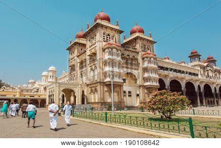 MYSORE, INDIA - FEB 17, 2017: Historical structures and courtyards of the royal Palace of Mysore built in 1912 on February 17, 2017. With population 900000 Mysore is the cultural capital of Karnataka