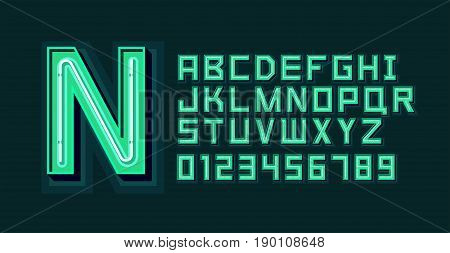 Green Neon Light Alphabet Font. Vector format