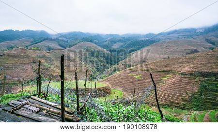 View Of Fields On Hills From Of Tiantouzhai